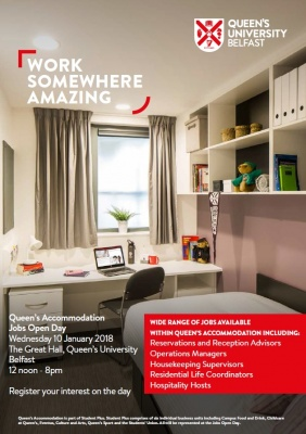 "Queen's University Belfast  Jobs ""Open Day"" for new City Centre Student Accommodation"